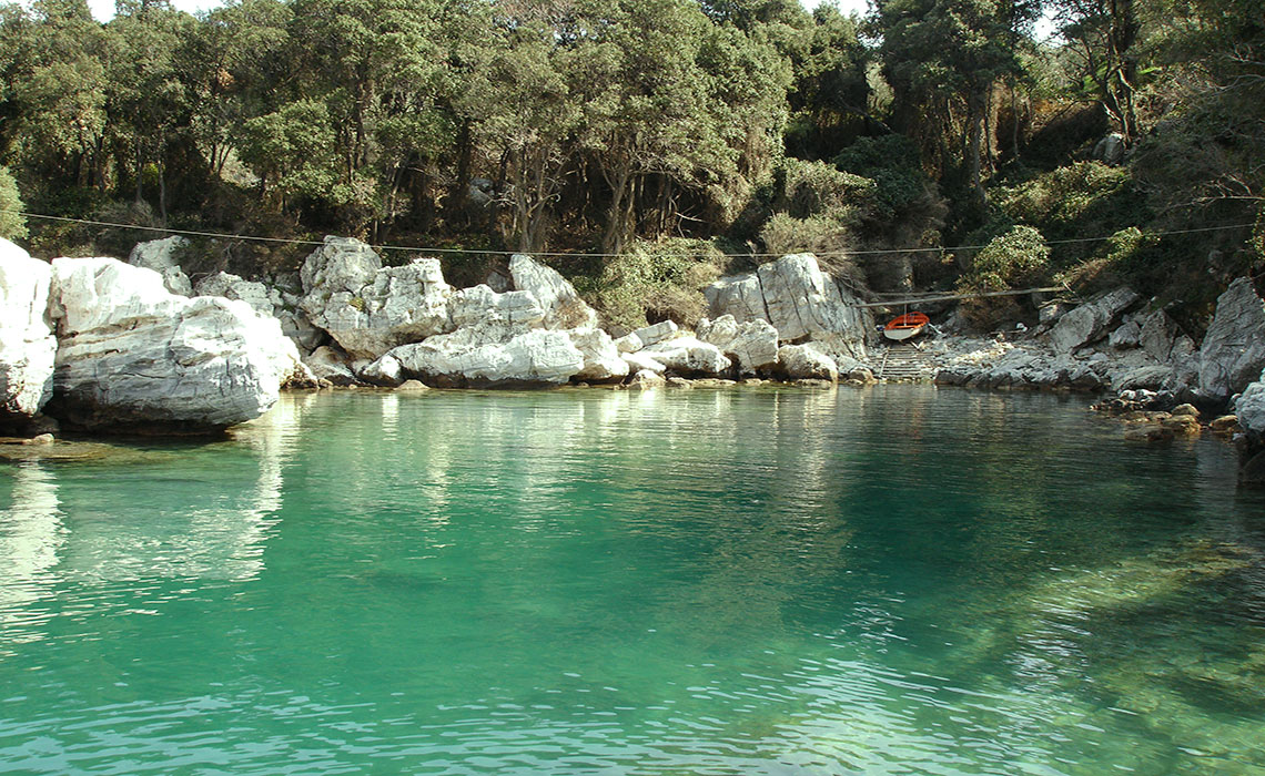 The Canal. The natural swimming pool from where you can see the studios. Maistros Studios in Damouchari, Pelion.